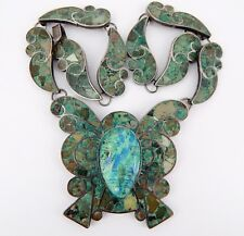 Vintage Mexican Sterling Green Turquoise Butterfly Carved Face Necklace 44 Grams