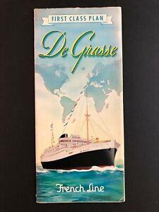SS DE GRASSE  - FRENCH LINE | 1948 Deluxe 1st Class Deck Plan Brochure
