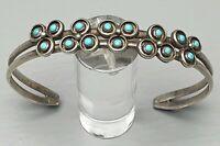 Schmaler Art Deco Armreif 835 Silber punziert natürl. Türkise besetzt /A484