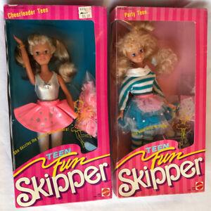 Vintage 80's Teen Fun Skipper Barbie dolls  Cheerleader #5893 + Party #5899 NIB