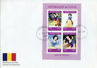 Chad 2019 FDC Snow White 4v M/S Cover Disney Cartoons Animation Stamps