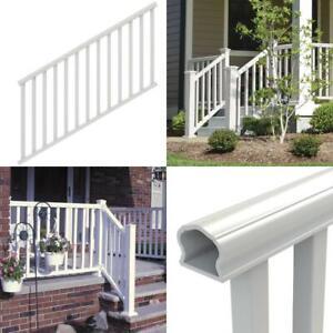 Durable Handrail Stair Railing Kit Traditional Veranda Vinyl Porch Deck, White