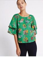 MARKS & SPENCER PER UNA GREEN FLORAL PRINT RUFFLE SLEEVE TOP Sizes 8 to 22