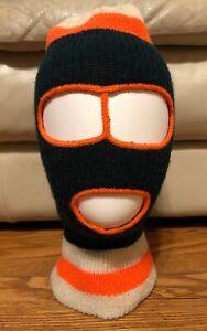 Vintage Knit Ski Mask 3 Hole Striped Orange Green Snow Hat Robber Unisex