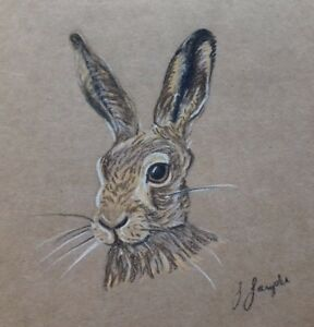 Lovely Hare Card by Sarah Sample Art with paw print cut out detail inside