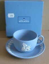 Wedgwood Jasperware Blue Christmas Pudding 1996 Cup & Saucer Boxed