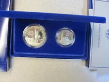 1986 (2 Coin Set) Ellis Is./Statue of Liberty Comm. Proof Silver Dollar/Clad .50