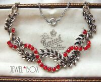 VINTAGE Adorable Vivid Red Ruby CRYSTAL RHINESTONE Garland Leaves NECKLACE GIFT