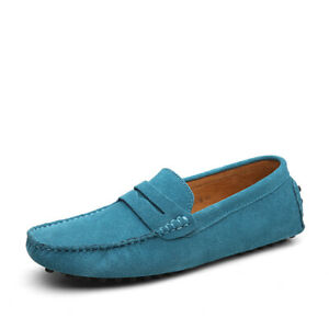 Mens Moccasins Slip On Flat Loafers Suede Leather Driving Shoes Casual Shoes