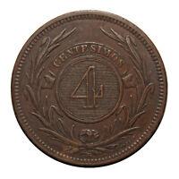 KM# 13 - 4 Centesimos - Uruguay 1869H (EF)