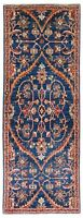 Hand Knotted New Sultanabad Runner Navy Hand-spun Wool Natural Dyes Rug 2 x 5