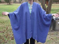 Harve' Bernard wool cape shawl wrap poncho OSFA oversized NEW with tags blue