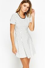 Womens White and Black Striped Summer Dress Nautical Short Ladies Size M L New