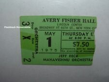 Jeff Beck / Mahavishnu Orchestra 1975 Concert Ticket Stub Lincoln Center Nyc