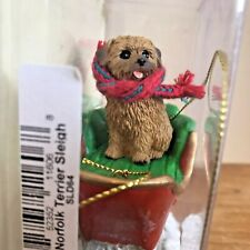 Norfolk Terrier Christmas Ornament Sleigh Brown Dog New Gift