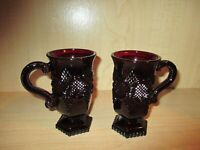 2 Avon Vintage 1876 Cape Cod Collection Ruby Red Glass Pedestal Mugs