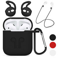 Rubber Charging Case With Strap Holder& Ear Hooks For Apple Airpods Accessories