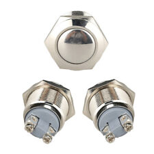 Silver Car 19mm 12V Momentary On/Off Metal Cool Push Button Switch Waterproof