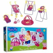 Peppa Pig Play and Go Travel Set Toy Buggy High Chair Playmat Swing For Doll