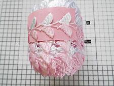 1m -Pink/White, Butterfly Motif - Applique,Trimmings, Satin Lace Ribbon- W-3cm