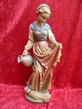 bella Figura di legno__ragazza con Pane und Brocca acqua santo MICHEA__54cm_