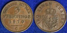 120 Einen Thaler 3 Pfenninge 1870 C Prussia Germania Germany Spl+ XF+ #1927