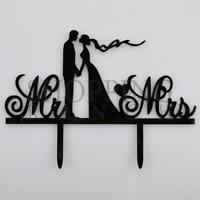 Wedding Cake Bride & Groom Topper Mr & Mrs Love Black Acrylic
