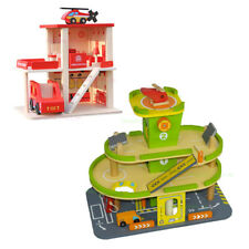 KIDS WOODEN Car Park Pretend Play Toy Parking Lot Garage Gas Fire Station