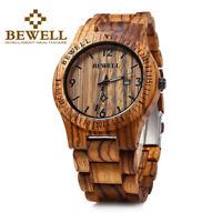 Bewell Wood Watch Men Date Display Quartz  Wrist Watch Adjustable Wooden Band