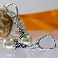 A238 Ohrringe 925 Silber Schmuck mit Swarovski Elements Perlen Jugendstil