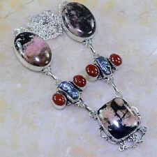 "Handmade Pink Rhodochrosite Gemstone 925 Sterling Silver Necklace 20"" #G65022"