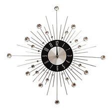 Large Diamante Office Work Home Silver Star Burst Clock - 50cm Diameter