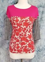 Boden Womens sz 4 Pink Red Floral Striped 3/4 Sleeve Knit Top