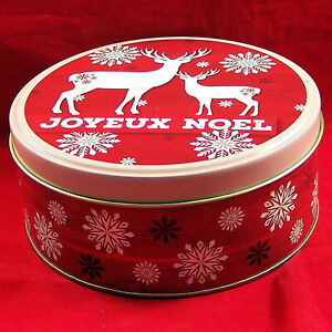 """Tin Xmas Joyeux Noel Reindeer Greenbrier Holiday Empty Can Box Container 6""""Round"""