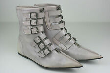 VINTAGE Winklepickers Ankle Boots Shoes Nude Leather Rockabilly Pointy Buckle  5