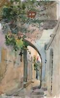 STEWART LOWDON Watercolour Painting ARCHWAY GREECE IMPRESSIONIST LANDSCAPE
