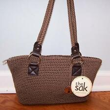 THE SAK CAMBRIA HAND-CROCHET SOLID TAUPE SHOULDER BAG HANDBAG TOTE SHOPPER BROWN