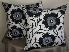 Big Black & White Bold Modern Floral Flower Cushion Cover 55cm size AU HandMade