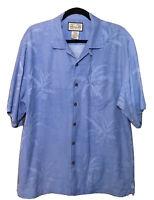 Jamaica Jaxx Mens Hawaiian Shirt Blue Short Sleeve Silk Palm Trees Size Medium