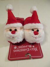 "Women's Size S 6-6.5 Ugly Christmas Santa Red White Slippers~Bottom Measures 10"""