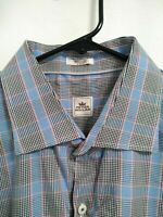 Mens XXL 2XL Peter Millar Blue Black Multicolor Plaid LS Button Up Dress Shirt