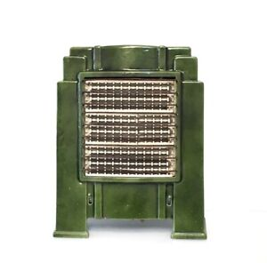 Vintage Antique Art Deco Ceramic Room Heater Fire - Green Frame