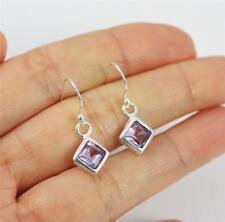 Solid 925 Sterling Silver, Purple Amethyst Dangle / Drop Earrings jewellery