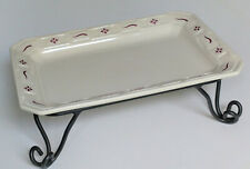 Longaberger Pottery Woven Traditions Red 9x13 Serving Tray Platter & Iron Stand