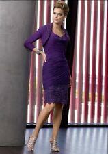 Chiffon Applique Knee-Length Mother-Of-The-Bride Evening Dress Purple/Eggplant