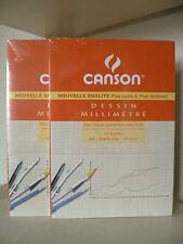 CANSON lot de 2 bloc de 50 feuilles papier millimétré A4 90g/m2