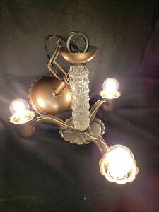 VINTAGE PURITAN HANGING METAL AND GLASS CHANDELIER LIGHT FIXTURE