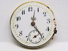 Antique No Name Pocket Watch Movement. 27 mm in size. Porcelain Dial