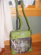CAMOUFLAGE & LIMEY GREEN  (LARGE) HIPSTER PURSE-GEM CROSS