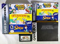 Mouse Trap/Operation/Simon (Nintendo Game Boy Advance, 2005) CIB Complete FUN!